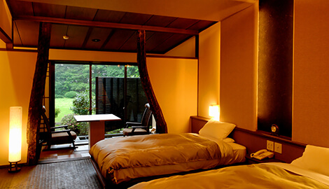 Japanese-style room with private open air Onsen.